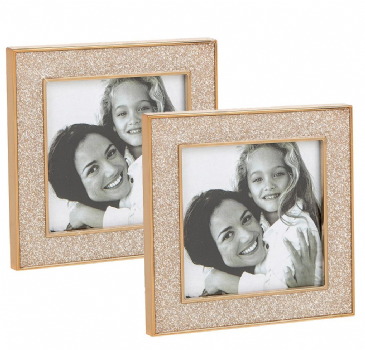 Set 2 Mini Photo Frames 3x3 Champagne Sparkle